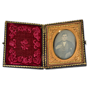 1800s Post-Mortem Daguerreotype Photo of Stately Man in Leather Case