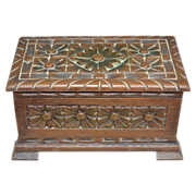 1970s Ornate Italian Faux Wood Storage Box