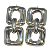 Taxco Sterling Silver Chunky Square Dangle Earrings