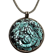 Huge Navajo Signed Spiderweb Turquoise & Sterling Silver Pendant