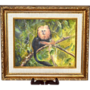 Original Golden Lion Tamarin Monkey Framed Oil Painting
