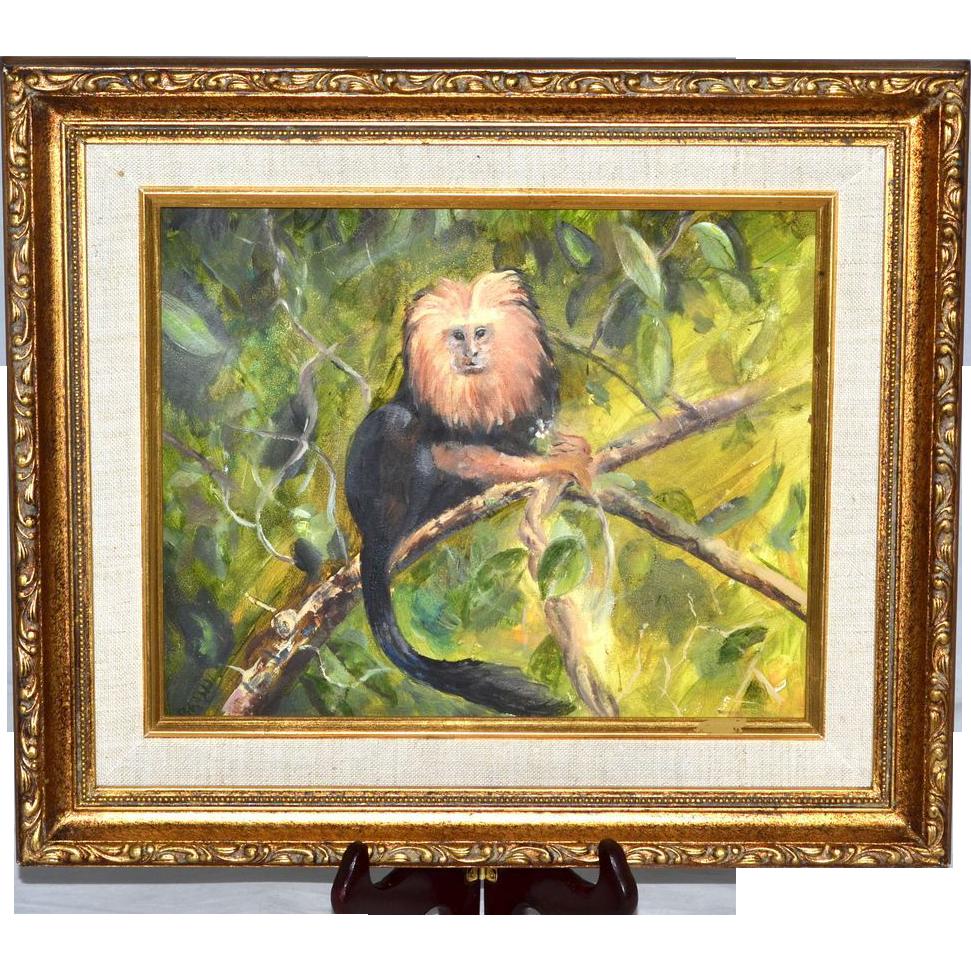 Original Golden Lion Tamarin Monkey Framed Oil Painting