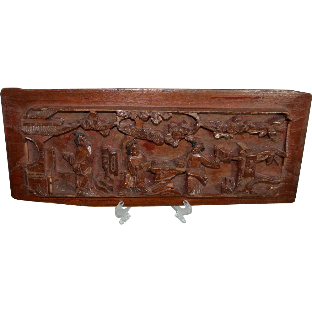 Antique Asian Wood Panel Architectural Salvage