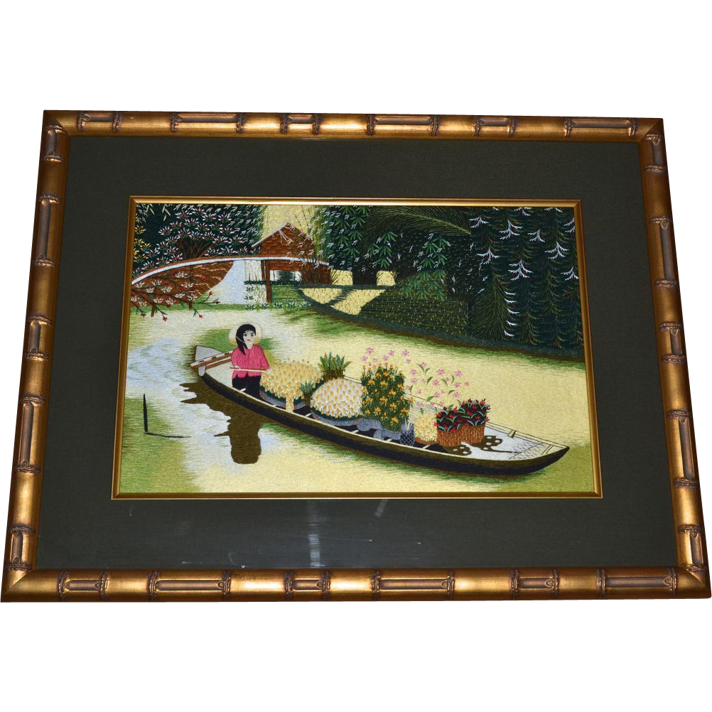 Incredible High Quality Asian Embroidery Art in Bamboo Design Frame