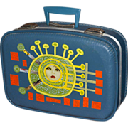 1960s Funky Pop Art Small Blue Suitcase