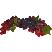 "Amazing 15"" Long Cluster of Naturalistic Artificial Red & Purple Grapes"