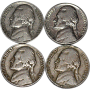 1939-1942 Set of 4 Thomas Jefferson U.S. American Nickels