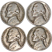 1946-1949 Set of 4 Thomas Jefferson US. American Nickels