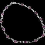 14K White Gold & Diamond-Shaped Amethyst Necklace