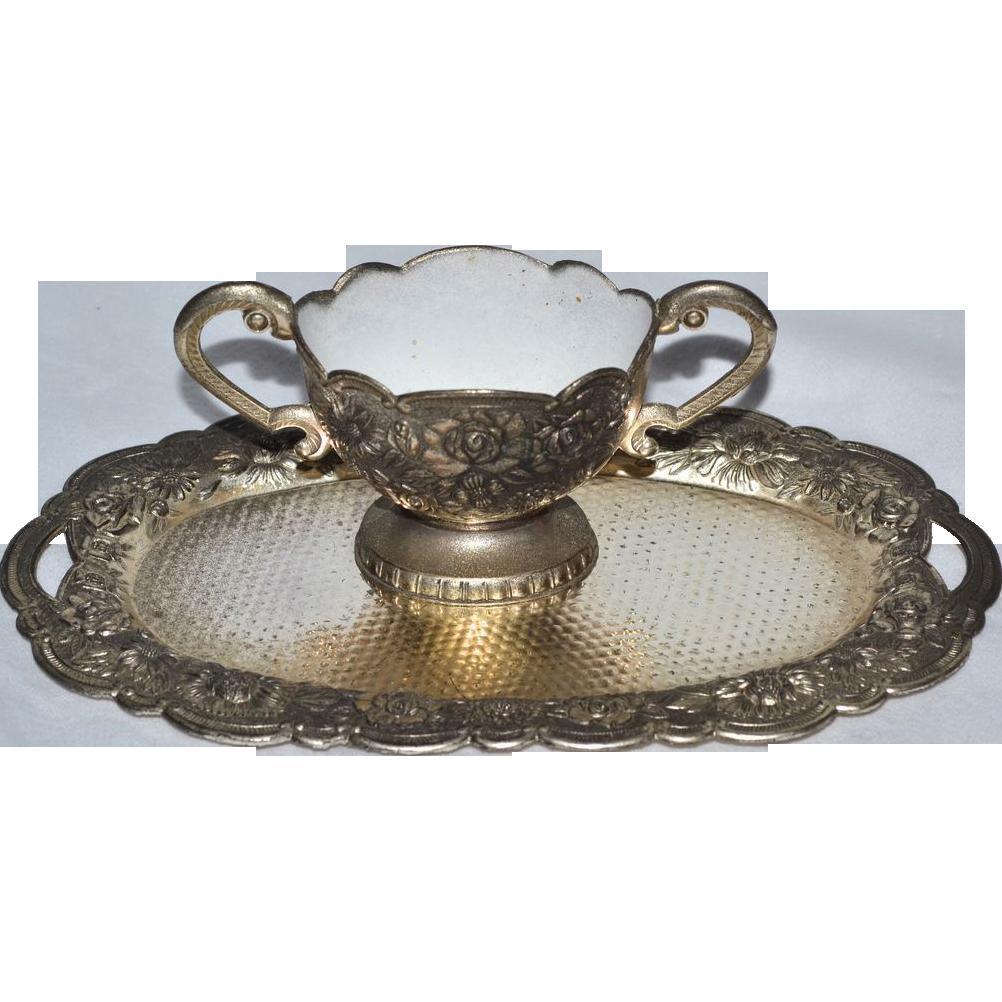 Top 20 Tea Platters: Child's Silverplate Tea Tray & White Enamel Sugar Bowl