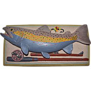 1992 Carruth ~ Heavy 3D Rainbow Trout Fish Wall Plaque