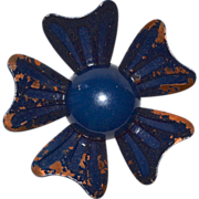 Distressed Midnight Blue Flower Brooch/Pin