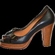 Michael Kors ~ Black Leather Stacked Platform High Heels