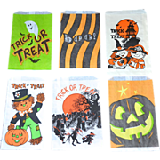 Set of 6 Halloween Candy Trick or Treat Paper Bags