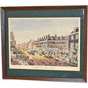 Circa 1850s Louis Augier ~ Broadway, New York Hand Colored Framed Lithograph
