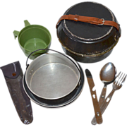1950s 10-Pc Aluminum Mess Kit w/ Flatware Utensils