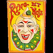 Circa 1900s Milton Bradley 'Ring My Nose' Ring Toss Game w/ Box