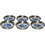 Set of 6 Pewter & Ceramic Blue Flower Coasters