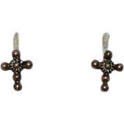 Sterling Cannetille Filigree Cross Petite Stud Post Earrings