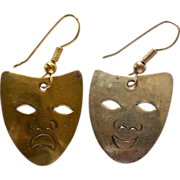Comedy & Tragedy Brass/Silvertone Pierced Dangle Earrings