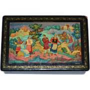 Signed Russian Folklore Black Lacquer Wood Trinket or Jewelry Box