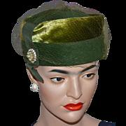 1950s Jeanne Olive Green Wool Pillbox Veil Hat w/ Faux Pearls & Rhinestones