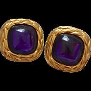 Large Trifari Faux Amethyst Glass Designer Clip Earrings