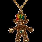 Enamel Rainbow Hair Troll Charm/Pendant Necklace