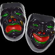 Black Comedy & Tragedy Drama Mask Ceramic Wall Pockets