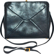 Giorgio Beverly Hills Black Pebble Leather Crossover Shoulder Bag/Purse