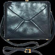 Giorgio Beverly Hills Black Pebble Leather Crossover Shoulder Bag/Purse