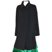 Halston Red Long Black Cape Style Cashmere Wool Coat