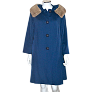 1950s Jacards Kilgarnock by Belson Sapphire Blue Wool Coat w/ Fur Collar