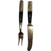 Napa Jewelry Solid Bronze Thai Art Appetizer Fork & Knife