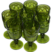 Set of 8 Indiana Glass Thumbprint Green Glass Wine Goblet Stemware