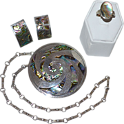 1930s Los Ballesteros Iguala Concentric Abalone Sterling Pendant/Brooch Necklace, Earrings & Ring Parure