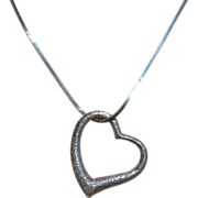 Large Textured 5G Solid Sterling Silver Open Heart Pendant