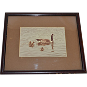 Original Sepia Tone Duck Photograph in Wood Frame