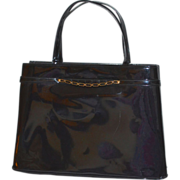 1960s Crown Lewis Black Patent Leather or Black Vinyl Handbag Purse