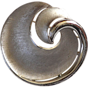Crown Trifari Signed Silvertone Swirl Brooch