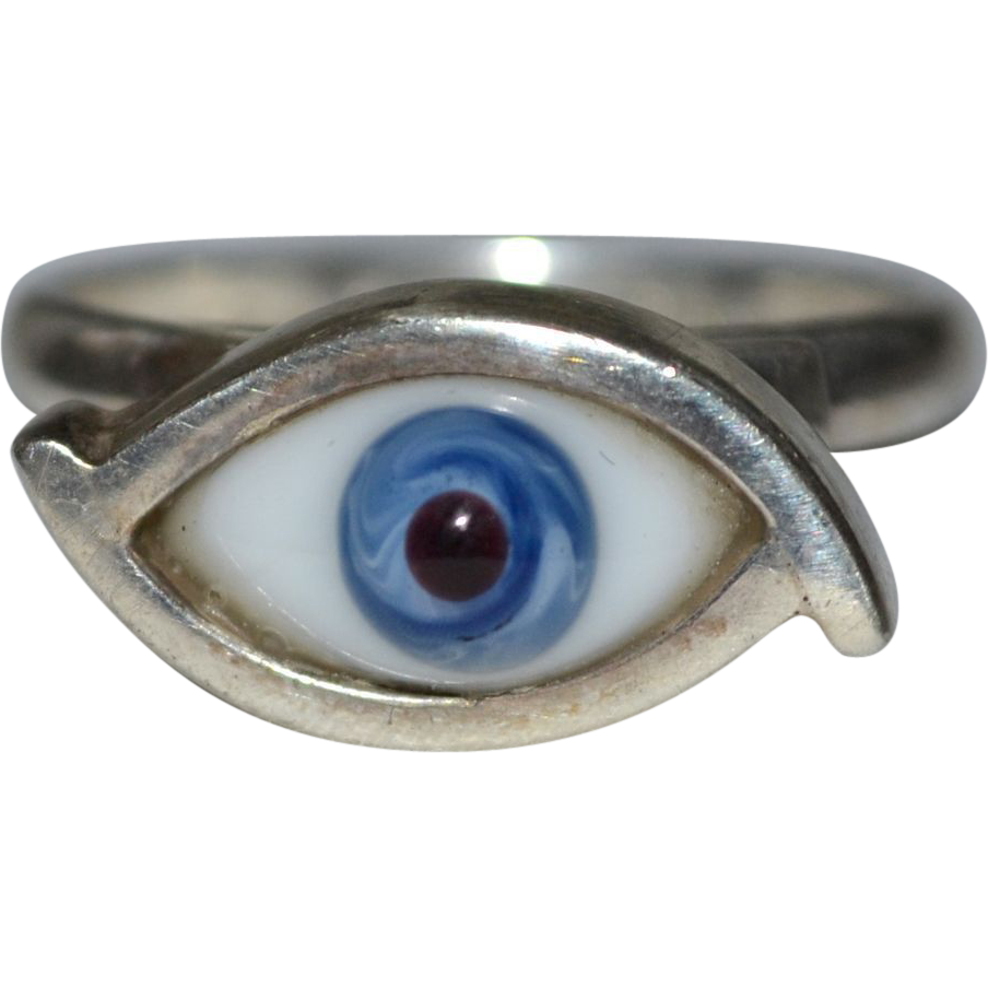 Taxco Mexico Sterling Blue Glass Evil Eye Talisman Ring ~ Size 7 3/4