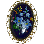 Large Handpainted Forget-Me-Not Flower Black Porcelain Filigree Mourning Brooch/Pin
