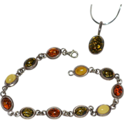 Cognac, Green & Butterscotch Yellow Amber Sterling Silver Bracelet & Signed Pendant Set