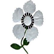 "Huge 5"" Gray Enamel 3-D Stemmed Flower Brooch/Pin"