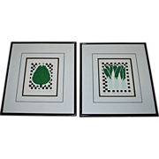 Carolyn Oltman Artichoke & Leeks Signed/Numbered Framed Silkscreen Art Prints
