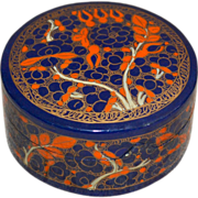 Small Oriental Orange & Blue Flower Hand-Painted Round Lacquer Wood Trinket Box