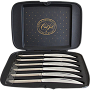 Carver Hall Set of 6 Sleek Chrome Handle Stainless Steel Steak Knives in Original Case