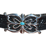 Blue Turquoise & Sterling Silver Ornate Scrollwork Southwestern Ladies' Belt Buckle