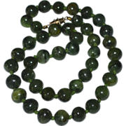 Faux Green Jade Stone Bead Double Knotted Necklace