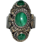 Gorgeous Huge Triple Malachite & Sterling Silver Scarab /Leaf Poison Ring